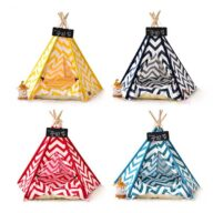 Dog Bed Tent: Multi-color Pet Show Tent Portable Outdoor Play Cotton Canvas Teepee 06-0941 Dog Bed Tent: Multi-color Pet Show Tent Portable Outdoor Play Cotton Canvas Teepee 06-0941