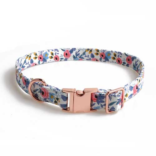 Adjustable Dog Collar Buckle Bowknot Pet Bowknot Dog Collar Rose Gold Full Metal Polyester COLLARS for Small Animals Travel 06-0538